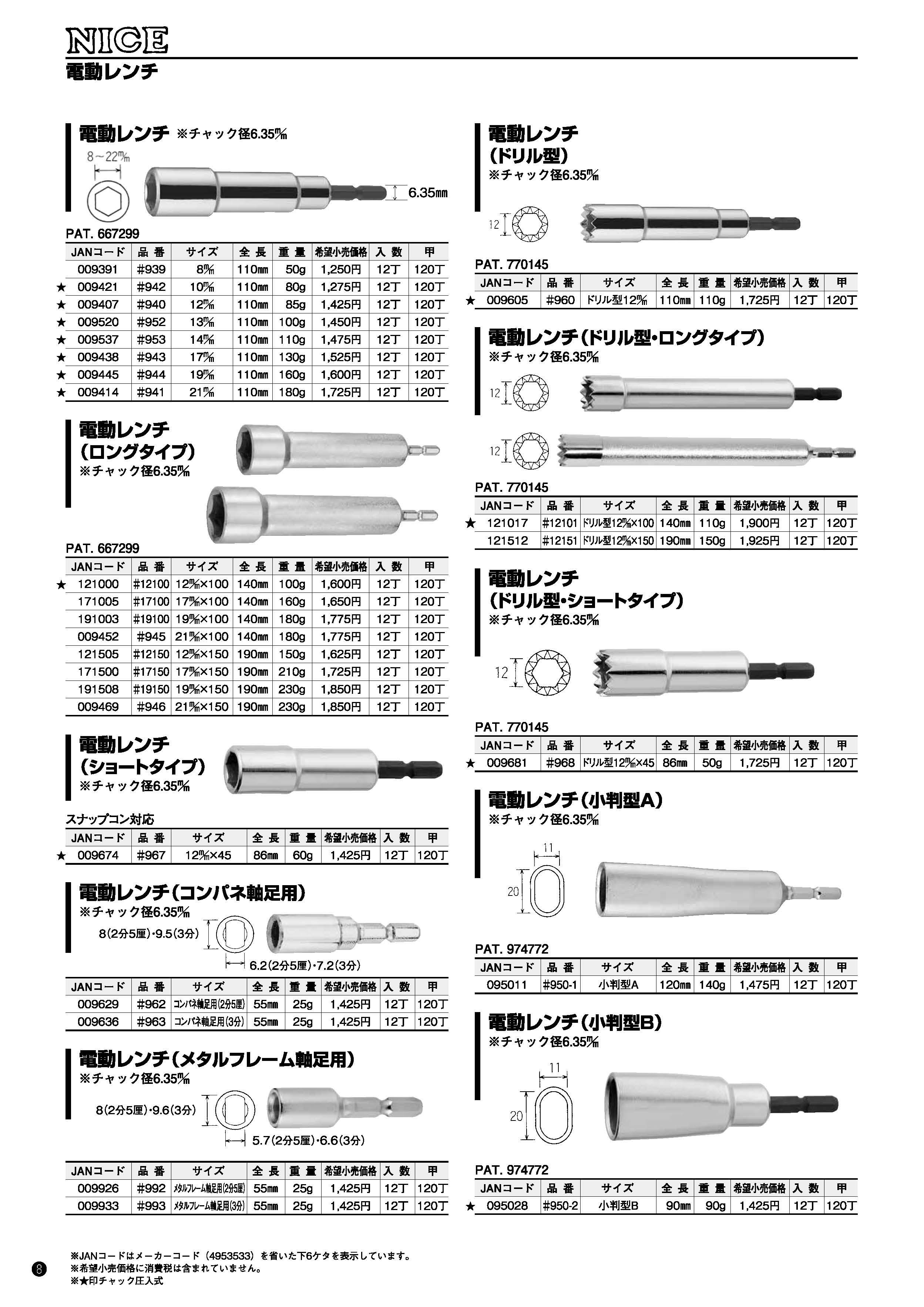 電動レンチ(ストレート型・ロングタイプ・ショートタイプ・軸足用・ドリル型・小判型)